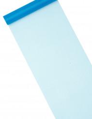 Chemin de table organza brillant bleu turquoise 5 m