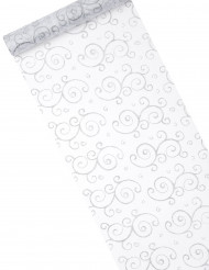 Chemin de table blanc en organza : motifs arabesques paillettes