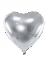 Ballon aluminium cœur argenté 46 cm