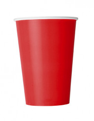 10 Gobelets rouges en carton 355 ml