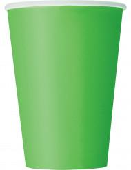 10 Gobelets vert citron en carton 355 ml