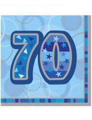 16 Serviettes en papier Age 70 ans bleues 33 x 33 cm