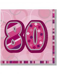 16 Serviettes en papier Age 80 ans roses 33 x 33 cm