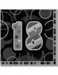 16 Serviettes en papier Age 18 ans grises 33 x 33 cm