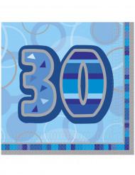 16 Serviettes en papier Age 30 ans bleues 33 x 33 cm