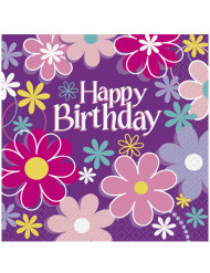 16 Serviettes en papier Happy Birthday fleurs 33 x 33 cm