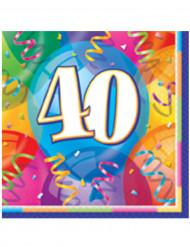 16 Serviettes en papier Joyeux Anniversaire 40 ans 33 x 33 cm