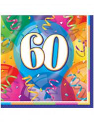 16 Serviettes en papier Joyeux Anniversaire 60 ans 33 x 33 cm