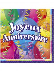 16 Serviettes en papier Joyeux anniversaire 33 x 33 cm