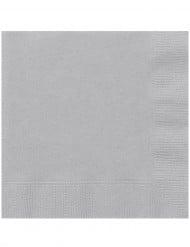 20 Serviettes en papier Argenté 33 x 33 cm