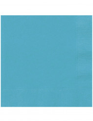 20 Serviettes en papier bleu caraïbe 33 x 33 cm