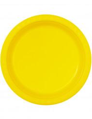 6 Assiettes jaunes en plastique 25 cm
