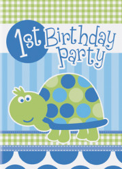 8 Cartes invitations bleues First birthday