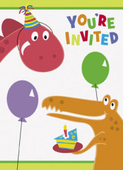 8 Cartes invitations Dinosaure