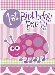 8 Cartes invitations roses First birthday