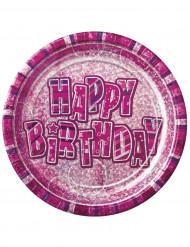 8 Assiettes en carton Happy Birthday roses métallisées 23 cm