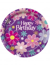 8 Assiettes en carton Happy Birthday 23 cm