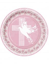 8 Assiettes en carton Baptême rose 23 cm
