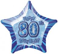 Ballon étoile bleu Age 80 ans