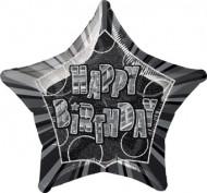 Ballon étoile gris Happy Birthday