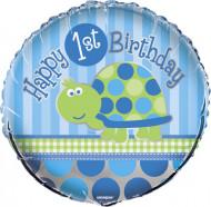 Ballon aluminium First birthday bleu 30 cm