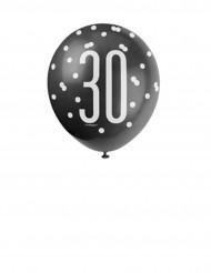 Ballons en latex 30 ans noirs, gris et blancs 30 cm