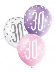 6 Ballons roses, violets et blancs 30 ans