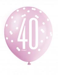 Ballons en latex roses, violets et blancs 40 ans