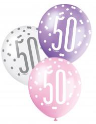 6 Ballons roses, violets et blancs 50 ans