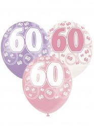 6 Ballons roses 60 ans