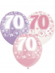 6 Ballons roses 70 ans