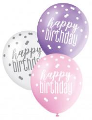 6 Ballons roses, violets et blancs Happy Birthday