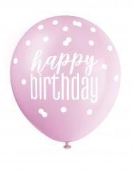 Ballons roses, violets et blancs Happy Birthday