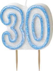 Bougie Age 30 ans bleu
