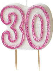 Bougie Age 30 ans rose