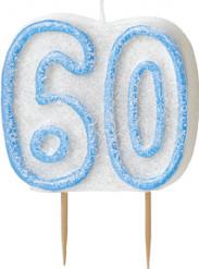 Bougie Age 60 ans bleu