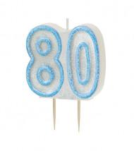 Bougie Age 80 ans bleu