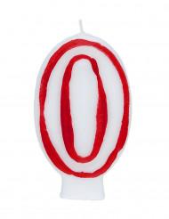 Bougie blanche au contour rouge chiffre 0