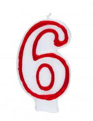 Bougie blanche au contour rouge chiffre 6