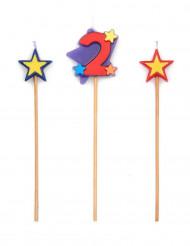 Bougie chiffre 2 étoiles