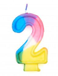 Bougie multicolore chiffre 2