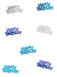 Confettis bleu/gris Happy Birthday