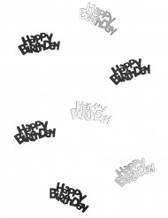 Confettis Happy Birthday noir et argent