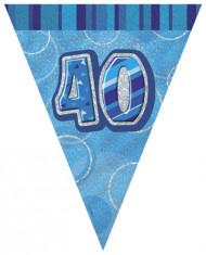 Guirlande Fanions bleue Age 40 ans