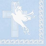 16 Serviettes en papier Baptème Bleu 33 x 33 cm