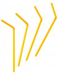 50 Pailles flexibles jaune orange