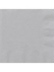 50 Serviettes en papier grises 33 x 33 cm