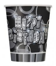 8 Gobelet Happy Birthday gris