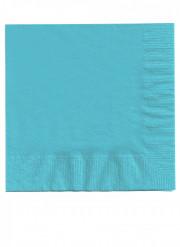 50 Serviettes en papier bleu clair 33 x 33 cm