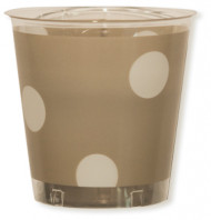 10 Gobelets Cristal taupe pois blancs